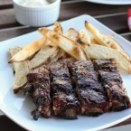 Honey Crusted Ribs and Oven Baked Fries with Fennel Aioli