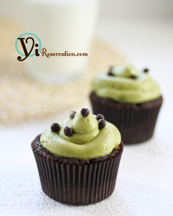 Post image for Green Tea Chocolate Fruit Jam Cupcake