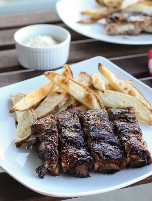 Post image for Honey Crusted Ribs and Oven Baked Fries with Fennel Aioli {Marx Foods Challenge}